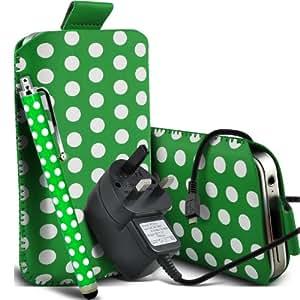 Sony Xperia M Protección Premium Polka PU ficha de extracción Slip Cord En Pouch Pocket cubierta de la caja de liberación rápida de la piel, Grande Matching Stylus Pen & Micro USB CE aprobado 3 Pin Cargador verde y blanco por Spyrox