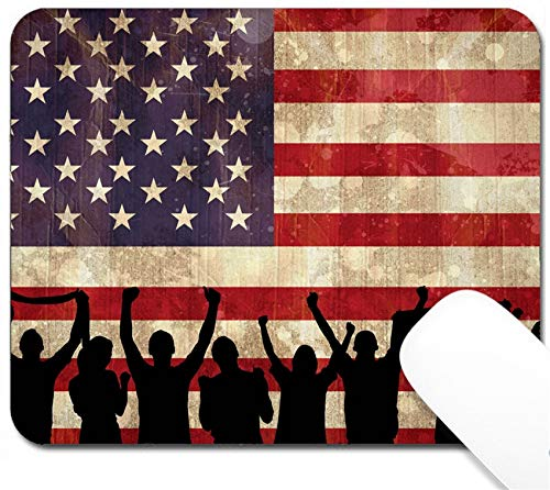MSD Mouse Pad with Design - Non-Slip Gaming Mouse Pad - Image ID 29100724 Silhouettes of Football Supporters Against USA Flag in Grunge Effect