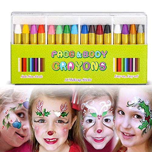 Halloween Face Paint Spiders (Face Paint Crayon Face Painting Kit for Kids,16 Color Easter Face and Body Crayons Safe & Non Toxic Washable Face Paint Halloween Cosplay Festival Makeup Body Paint for Toddler, Children,)