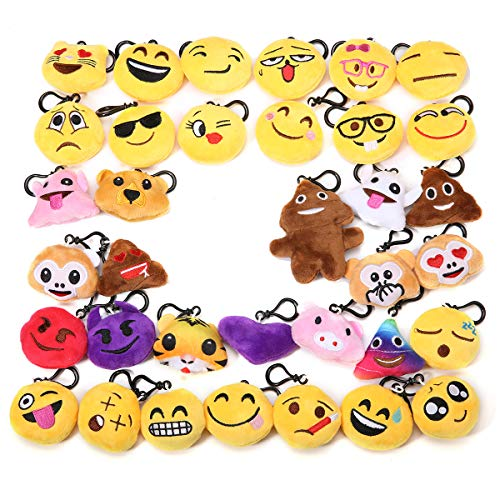 KINGSO Mini Emoji Plush Pillow Emoticon Keychain Decoration Kids Party Supplies -