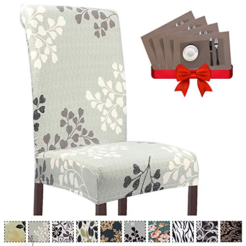 6pcs Stretch Removable Washable Dining Chair Cover Seat Protector Slipcover for Hotel, Dining Room, Banquet Wedding Party - Free Set of 6 Placemats for Dining Table (Style 5,Set of 6) (Placemats Room Dining)