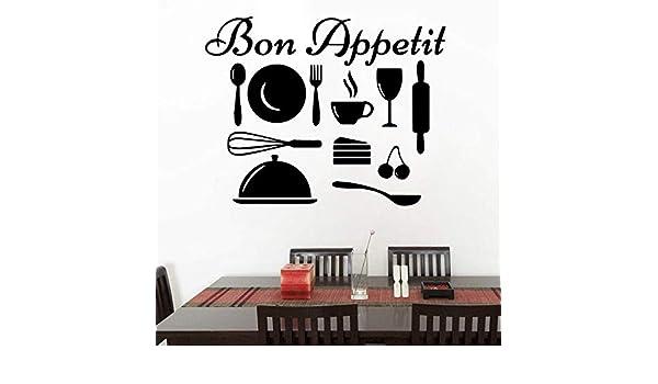 Ajcwhml Bon Appetit Cotizaciones calcomanías Todo Tipo de Utensilios de Cocina Cocina Etiqueta de la Pared decoración Accesorios 58x73cm: Amazon.es: Hogar