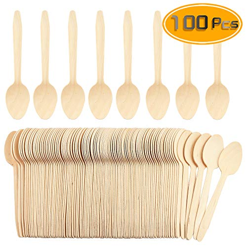 WFPLUS 100 Pcs Disposable Wooden Spoons Natural Bamboo Sppons Biodegradable Disposable ()