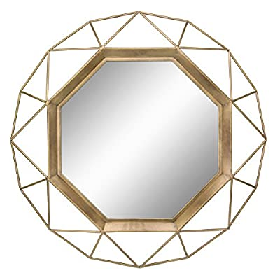 Stonebriar SB-6137A Gold Geometric Wall Mirror, 30 x 30 - Measuring at 30Diameter with Gold frame and 17Diameter for the mirror alone, this elegant mirror is the perfect size for a vanity or accent mirror Stone briar's stylish mirror features a unique geometric wire metal frame with an antique Gold finish & an octagon mirror with crystal clear reflection This stylish and eye-catching decor piece is the perfect addition to your bathroom, living room, bedroom, office, and entryway - mirrors-bedroom-decor, bedroom-decor, bedroom - 512ICUEIoBL. SS400  -