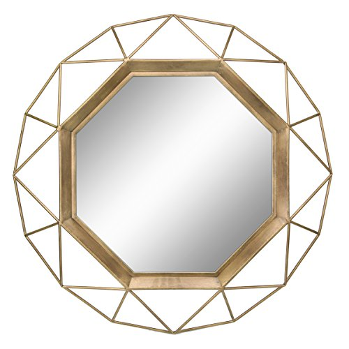Stonebriar Gold Geometric Wall Mirror, 30 x - Transitional Bathroom Mirrors Decorative