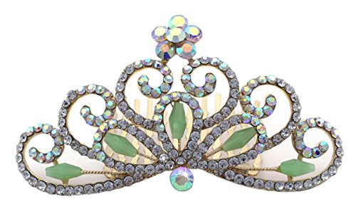 Mini Tiara Hair Comb Halloween Princess Crown Wedding Flower Girl Tiara 3.25 Inch ()