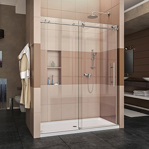 DreamLine Enigma-X 56-60 in. W x 76 in. H Fully Frameless Sliding Shower Door in Brushed Stainless Steel, SHDR-61607610-07
