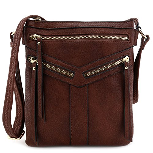 - Double Compartment Crossbody Bag with Zipper Accent Dark Brown