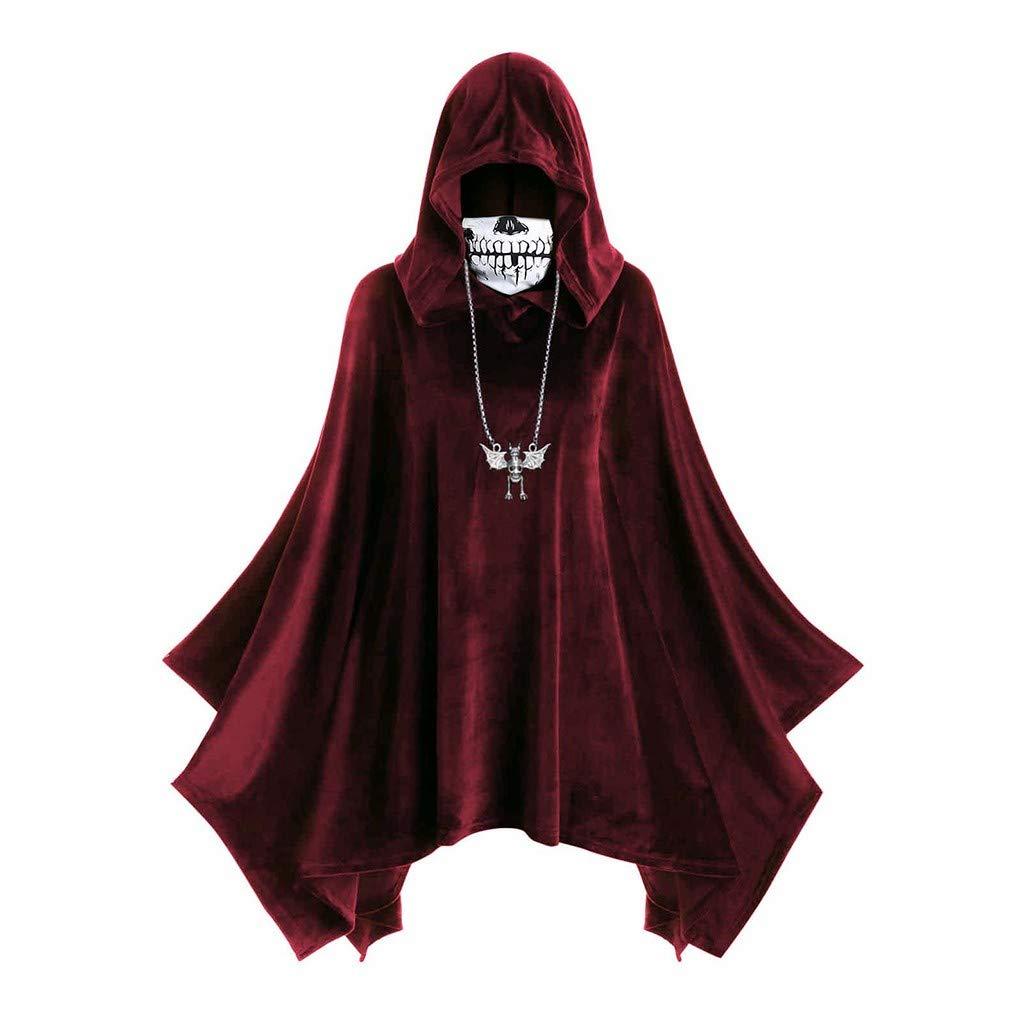 HebeTop Women's Hooded Tops Cape Coat Halloween Skull Mask Print Dress Red by ▶HebeTop◄➟HOT SALES