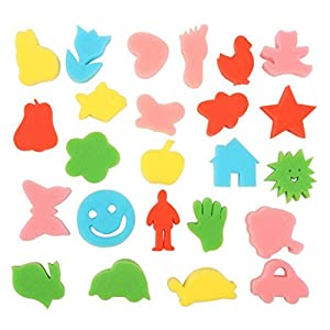 Tinksky 24pcs Kids Sponge Painting Shapes? Crafting Painting Sponge (Random Pattern)