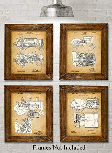 Original John Deere Tractors Patent Art Prints - Set of Four Photos (8x10) Unframed - Makes a Great Gift Under $20 for Farmers or Country Decor ()