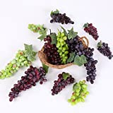 9 Bunches of Artificial Green Red Purple Grape Cluster Simulation Fake Fruit Home Kitchen Party Decor Lifelike