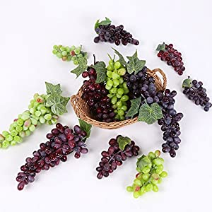 3 Bunches of Artificial Green Red Purple Grape Cluster Simulation Fake Fruit Home Kitchen Party Decor Lifelike 44