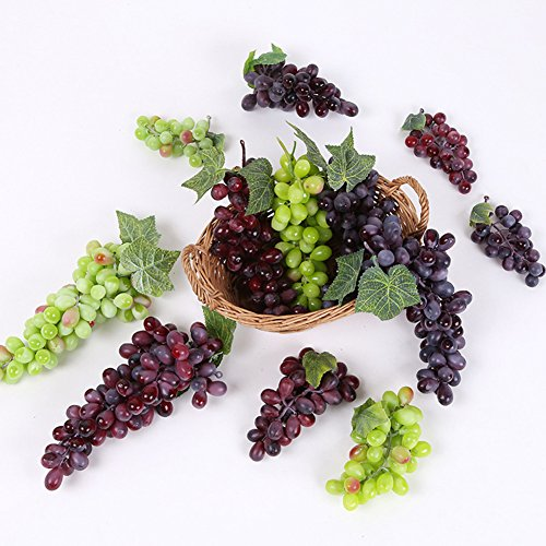 9 Bunches of Artificial Green Red Purple Grape Cluster Simulation Fake Fruit Home Kitchen Party Decor Lifelike by Lopkey