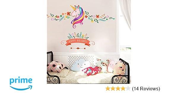Amazon.com: Unicorn Wall Decor Sticker Decals Girls Bedroom Wall Stickers  Nursery Room Wall Decor  Lovely Unicorn Gifts For Girls: Home U0026 Kitchen