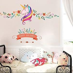 1559df96a5c1 Amazon.com  Unicorn Wall Decor Sticker Decals Girls Bedroom Wall ...