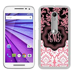 Moto G 3rd Phone Case,Monogram Personalized Light Pink and White Pattern White Pattern Cool Design Motorola Moto G 3rd Generation Cover Case