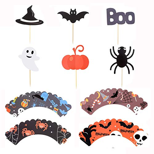 48 Pieces Halloween Picks include Cupcake Toppers and Pattern Wrappers for Halloween Party Cake Decoration(Pumpkin Spider Ghost Hat Bats Boo) -