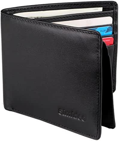 Simideo Men's Wallet TOP-GRAIN Genuine Leather Wallet Bifold Trifold Slim Wallet with RFID Blocking - Black
