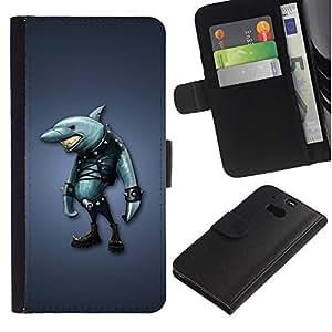 Caso Billetera de Cuero Titular de la tarjeta y la tarjeta de crédito de la bolsa Slot Carcasa Funda de Protección para HTC One M8 akula shark odezhda siniy fon / JUSTGO PHONE PROTECT