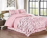 Chezmoi Collection Ella 2-piece Ruffle Waterfall Comforter Set (Twin, Pink)