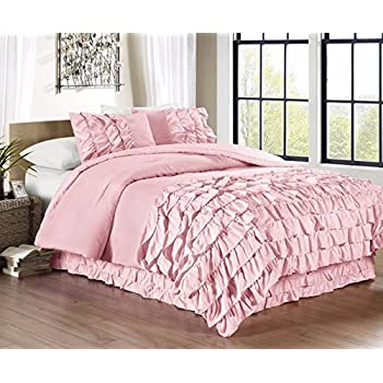 chezmoi collection ella 3piece ruffle waterfall comforter set queen pink