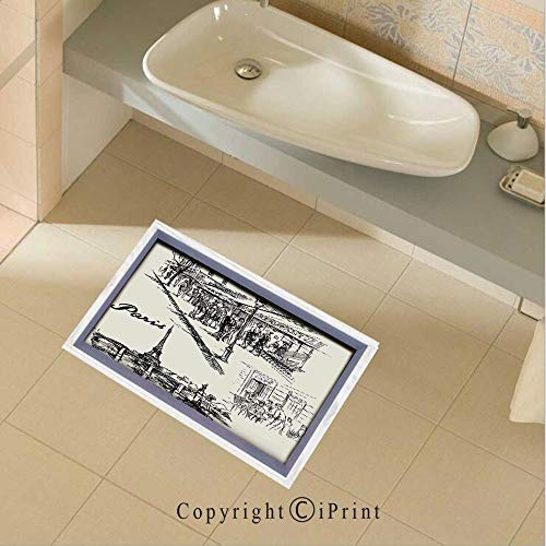 Floor Sticker PVC Decorative Paris Sketch Style Cafe Restaurant Landmark Canal Boat Streetlamp Retro Art Print Wall Decal Wall Sticker Decor Party Supplies Home Decoration,35.4