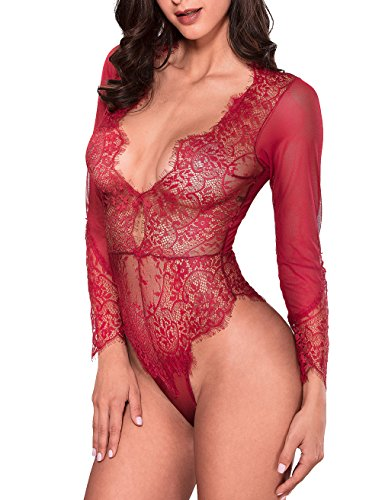 Long Sleeve Bodysuit Sexy Lace Deep V Bodysuit Lingerie (Red, L) (Red Long Sleeve Teddy)