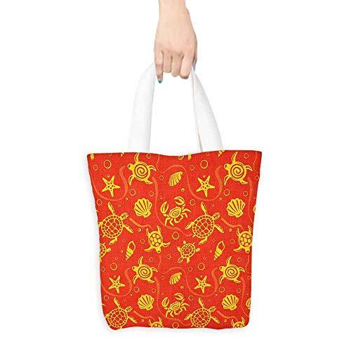 - Handbag or crossbody messenger bag Orange Swimming Turtles and Crabs with Seashells Bubbles and Starfish Tropical Washable tote 16.5