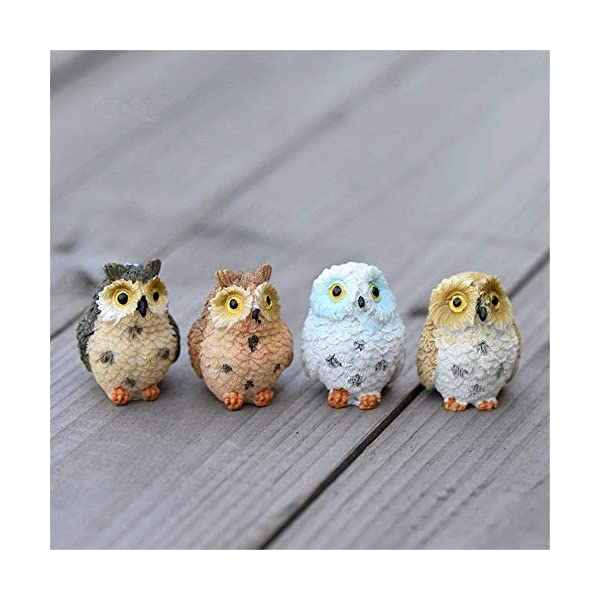 Danmu 4pcs Resin Mini Owls Miniature Figurines Fairy Garden Accessories Fairy Garden Supplies Fairy Garden Animals For Fairy Garden Micro Landscape Plant Pots Bonsai Craft Decor