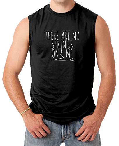 There Are No Strings On Me Men's SLEEVELESS T-shirt Tee (2XL, BLACK)