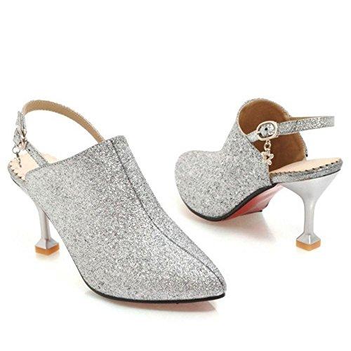 1 Chaussures Soirée Silver Escarpins Bride Razamaza Arriere Femmes qzxpU