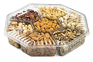 Farm Fresh Nuts, Gift Basket, Freshly Roasted Nut Tray, Gourmet Gift Platter, 7-Section.