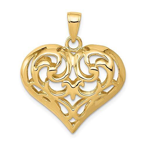 FB Jewels Solid 14K Yellow Gold 3-D Diamond-cut Open Filigree Heart Pendant