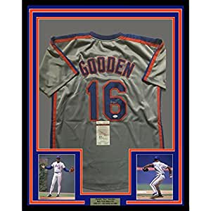 Framed Autographed/Signed Dwight Doc Gooden 33x42 New York Mets Grey Baseball Jersey JSA COA
