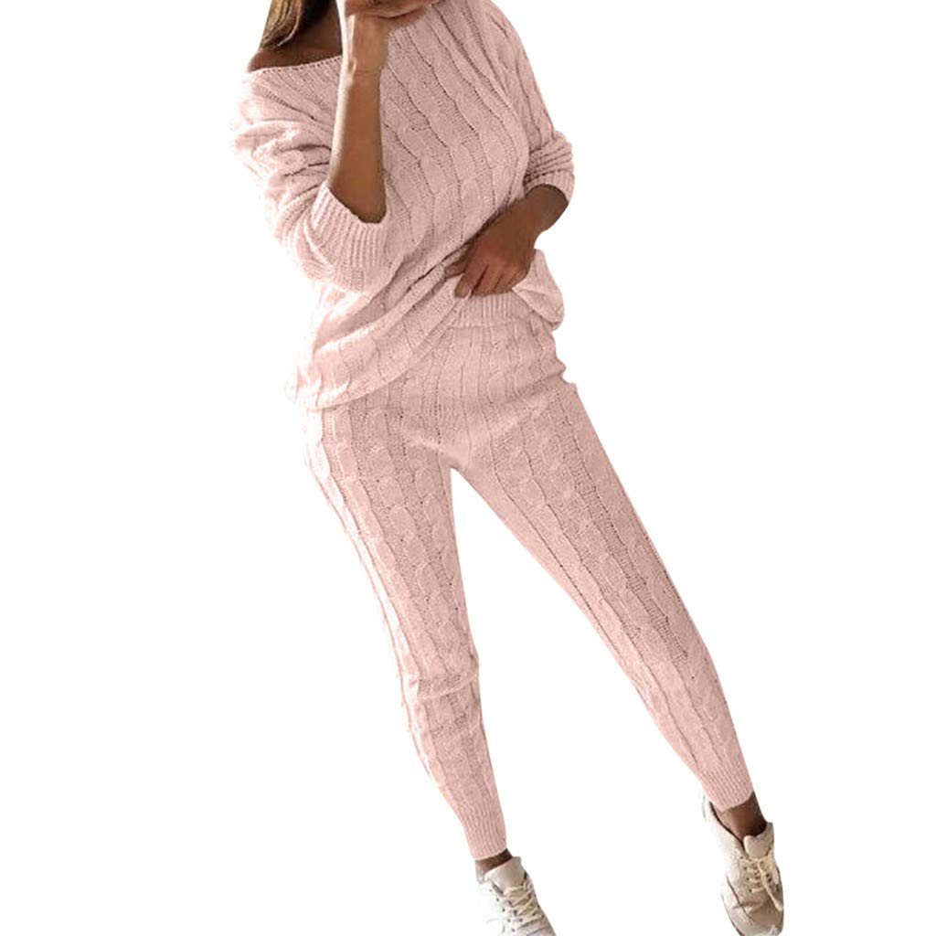 QIUUE Off The Shoulder Sweaters for Women Cable Knitted Warm 2PC Loungewear Suit Set Sports Sweater Nightwear Sleepwear Pink by QIUUE