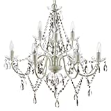 "The Original Gypsy Color Extra Large 9 Light Crystal Chandelier H26"" W27"", White Metal Frame with Clear Acrylic Crystals"