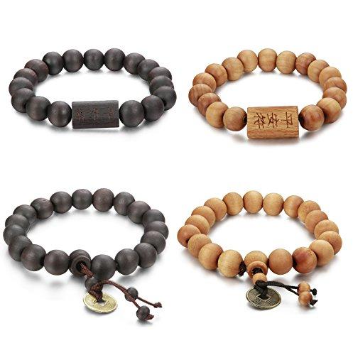 FIBO STEEL 4 Pcs 11mm Wood Beaded Bracelet for Men Buddha Bracelet Elastic