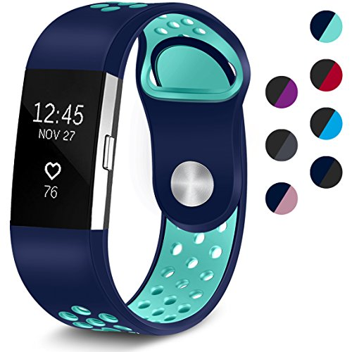 Maledan Replacement Sport Bands with Air Holes Compatible for Fitbit Charge 2, Blue/Teal, Large