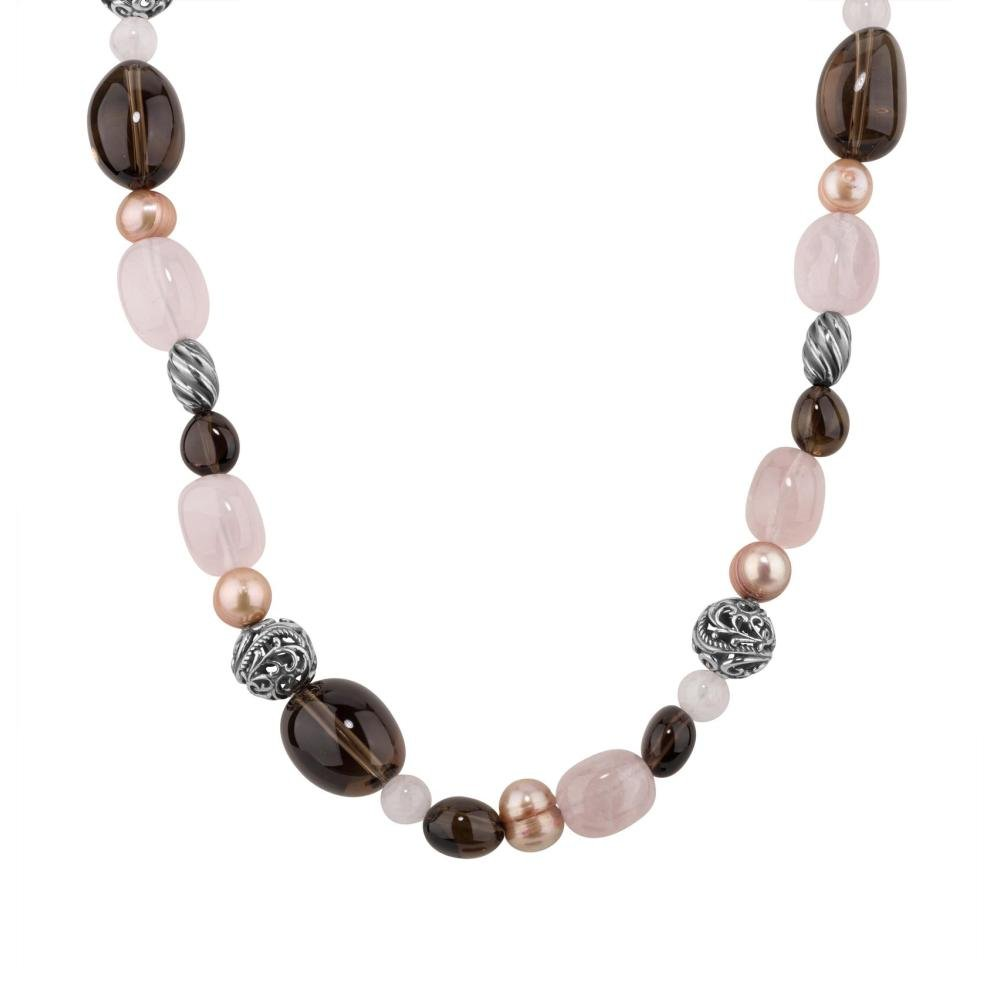 Carolyn Pollack Genuine .925 Sterling Silver Quartz Freshwater Cultured Pearl Beaded Necklace by Carolyn Pollack