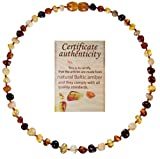 Mommy's Touch 100% Natural Amber Teething Necklace For Babies (4-Color) - Anti-Inflammatory & Teething Pain Reducing Properties Unisex Necklace With Twist-in Screw Clasp