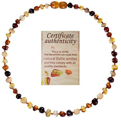 Organic Man Made Pearl (Mommy's Touch 100% Natural Amber Teething Necklace For Babies (4-Color) - Anti-Inflammatory & Teething Pain Reducing Properties Unisex Necklace With Twist-in Screw)