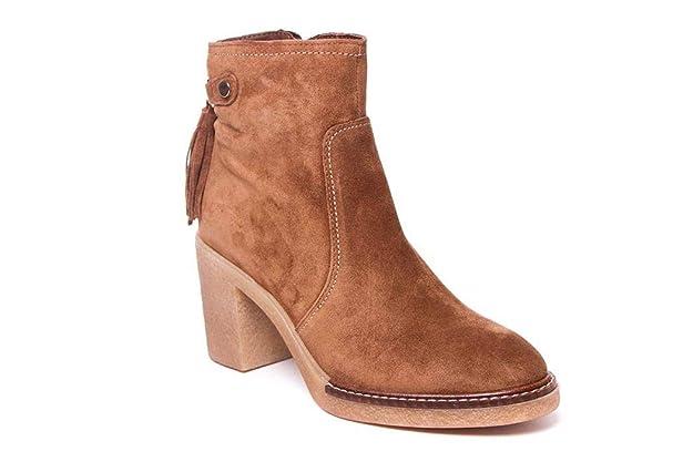 Botines de tacón para Mujer - Serraje Piel Marrón - ALPE 3681: Amazon.es: Zapatos y complementos