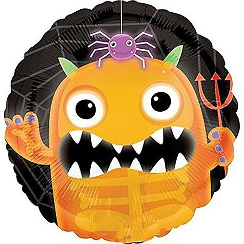 "Custom, Fun & Cool {Big Large Size 18"" Inch} 1 Unit of Helium & Air Inflatable Mylar Foil Balloon w/ Cute Monster Demon Spider Happy Halloween Kids Design [in Orange, Black, Purple & Green]"