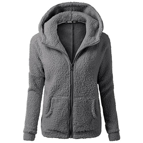 kaifongfu Winter Coat Women, Hooded Sweater Coat Winter Warm Wool Zipper Coat Cotton Outwear (Dark Gray, XL)
