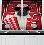 Ambesonne Pug Kitchen Curtains, Funny Dog Watching Movie Popcorn Soft Drink and Glasses Animal Photograph Print, Window Drapes 2 Panel Set for Kitchen Cafe, 55 W X 39 L inches, Red Cream Ruby