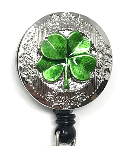 - Bling Rhinestone Retractable Badge Reel/ID Badge Holder/Brooch/Pendant/Reels (4 Leaf Clover)