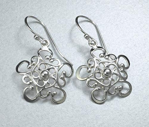 - Handmade Sterling Silver Filigree Snowflake Mandala Earrings