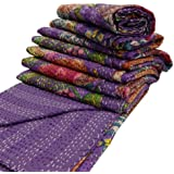 """India Purple Kantha Quilt King Size Reversible Bedspread Handmade Cotton Floral Bedsheet Home Décor 106"""" X 88"""" Inches"""
