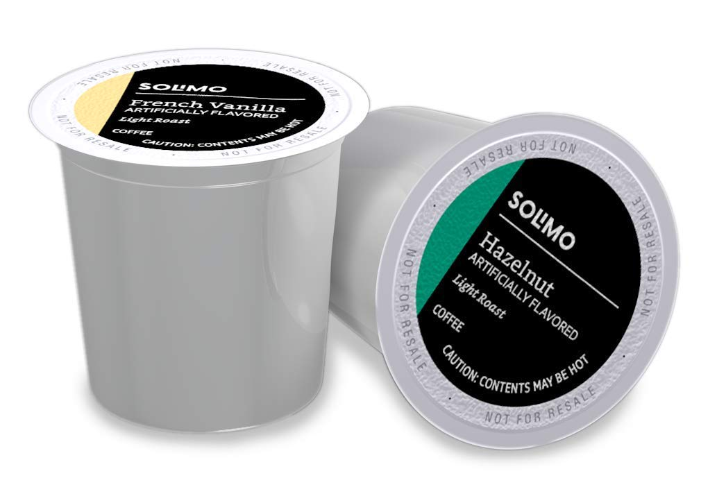 Amazon Brand - 100 Ct. Solimo Variety Pack Light Roast Coffee Pods, Hazelnut and French Vanilla Flavored, Compatible with Keurig 2.0 K-Cup Brewers